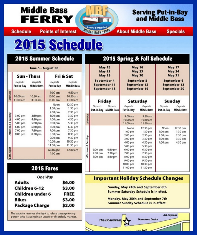 """Sonny-S"" Ferry Schedule"