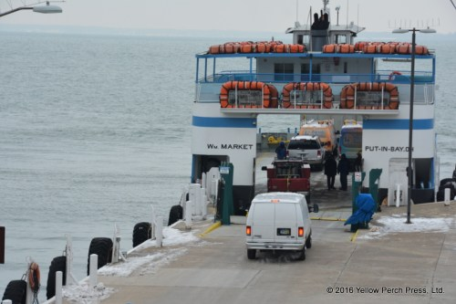 Last vehicle to board departing boat!