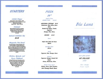 Blue Luna menu