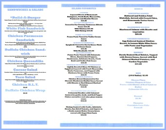 Blue Luna menu