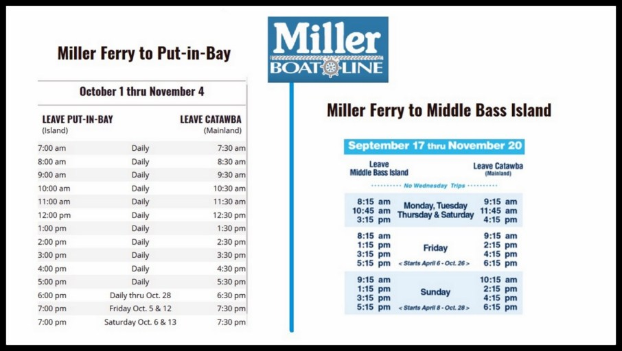 ferry schedule to Put in Bay
