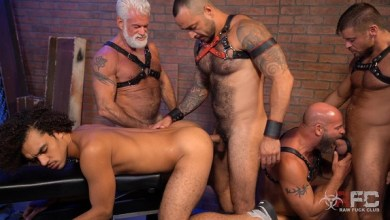 Photo of RawFuckClub – Derek's Leather Daddy Gang Bang – Part 1 – Bareback