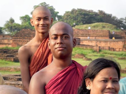 Burmese monks at Nalanda University ruins, Rajgir, Bihar