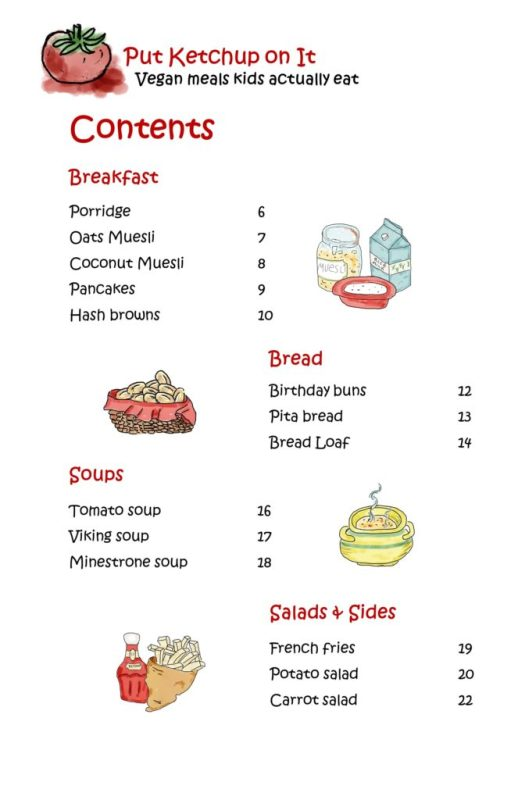 "Image showing part one of the contents page included in the free eBook ""My Very Own Cookbook - Vegan Meals Made by Kids"""
