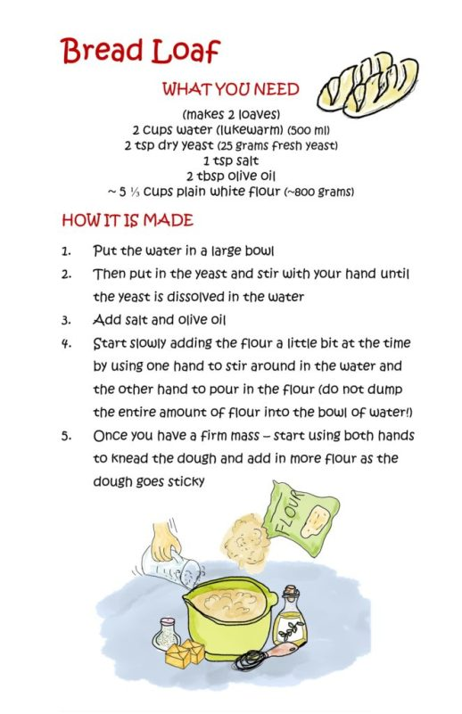 "Image showing the first part of the Bread Loaf recipe included in the free eBook ""My Very Own Cookbook - Vegan Meals Made by Kids"""