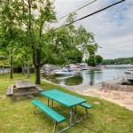 Private beach on lake mahopac with boat dock