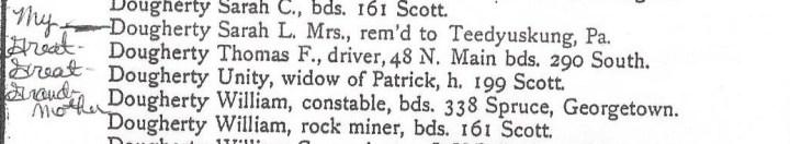 Sarah Dougherty Wilkes Barre 1897 Directory