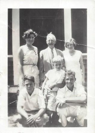 Charles Heap with grandchildren Dorothy Dougherty, Charles, June Heap Walter Dougherty, Tom Bush, and Robert Dougherty