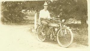 Roy Kornmeyer and Motorcycle 1912Yale