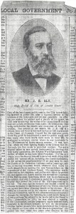 J. E. Sly  Newspaper clipping pg.1