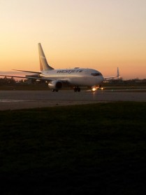 My bro's plane from Calgary, we waved like crazy and the flight attendant mentioned us :)