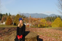 Me at Stanley Park with mountains in the background!