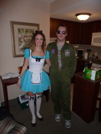 I was Alice in Wonderland and Rob was from Top Gun...we may have used these costumes a couple of times now!