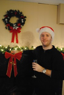 Obligatory Christmas shot in front of fireplace
