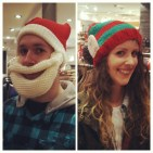 Trying on Christmas hats in Next