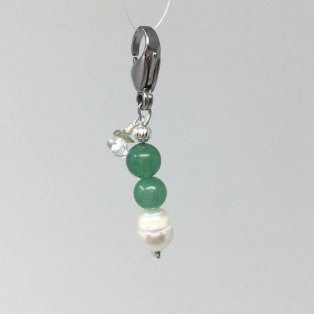 crystal accessories, charm, pet charm, green agate