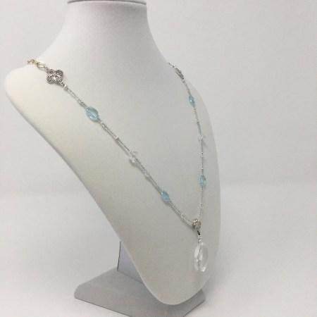 goddess necklace, detachable pendant, topaz and quartz, manifest your dreams, focused intention