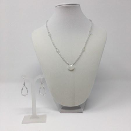 elegant jewelry, crystal elegance, moonstone necklace and earrings, moonstone pendant