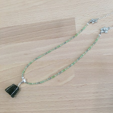 moldavite necklace, moldavite pendant, moldavite amulet, peridot necklace, green apatite necklace