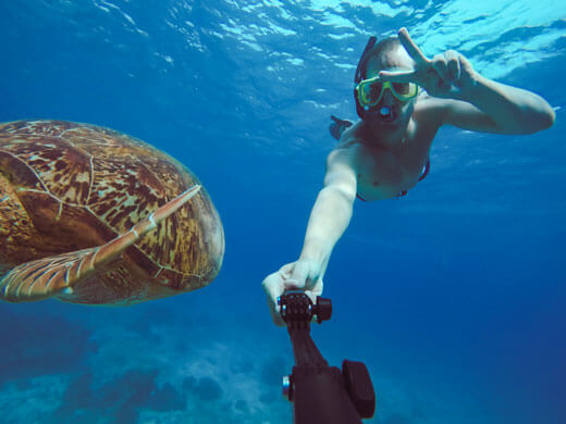Diver taking selfie with a turtle