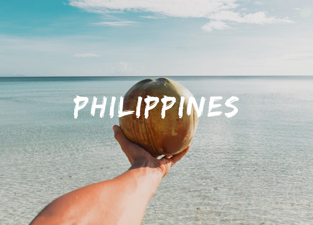 Hand holding coconut in front of the beach