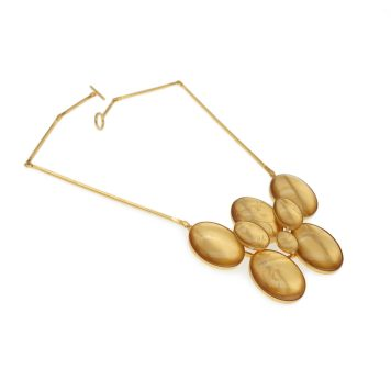 """Valdis Brože, necklace """"Golden horses"""" - gold plated sterling silver, rock crystal"""