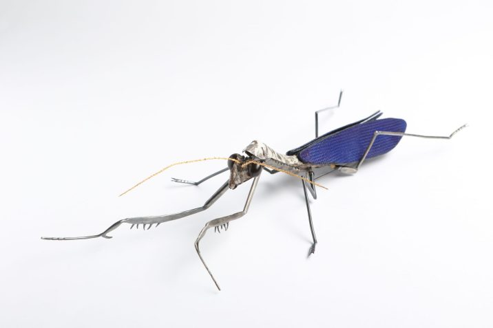 Yojae Lee, Mantis, brooch and object - forg's skin, leather, sterling silver, plymer clay, oxidized, gold plated