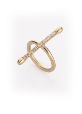 "Noritamy - ring ""Joints collection"" - gold dipped brass with white zirconia Photo: Keith Glassman"