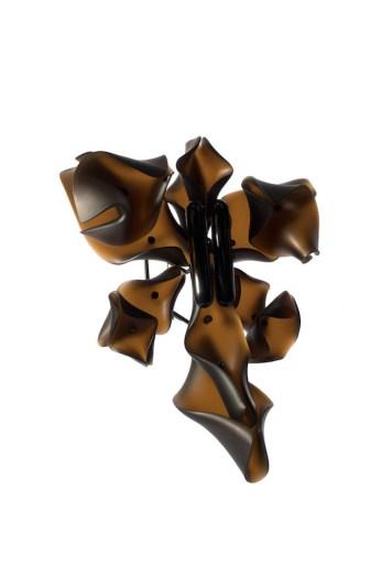 "Hansel Tai ""Soul Mating X"" brooch – buffalo horn, acrylic, silver 925′"