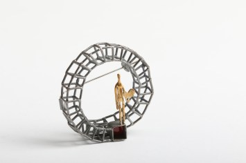 Simeon Shomov ''Labyrinth'', brooch - silver 925′, 24k gold plated, 700 degrees glass enamel