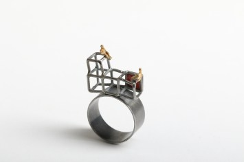 Simeon Shomov ''Labyrinth'', ring - ilver 925′, 24k gold plated, 700 degrees glass enamel