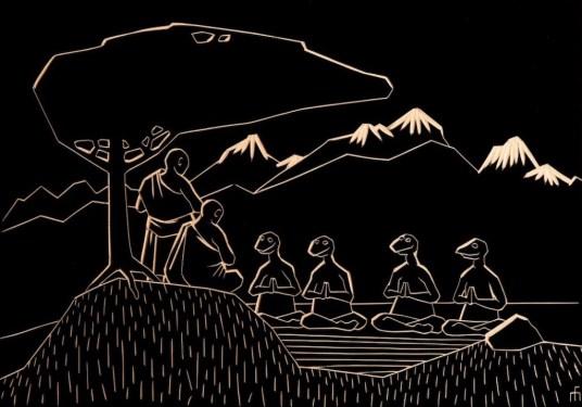 """Miķelis Fišers """"Budistu mūki māca meditāciju ķirzakcilvēkiem atkritējiem"""", 2017"""