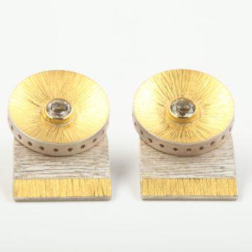 Andris Lauders, earrings - silver 925, gold 750, topas