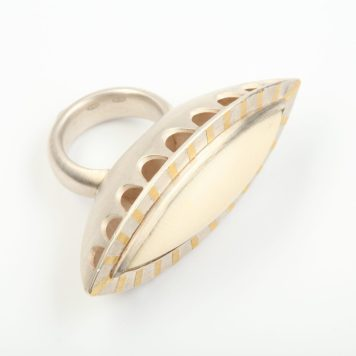 Andris Lauders, ring - silver 925, gold 750, ivory