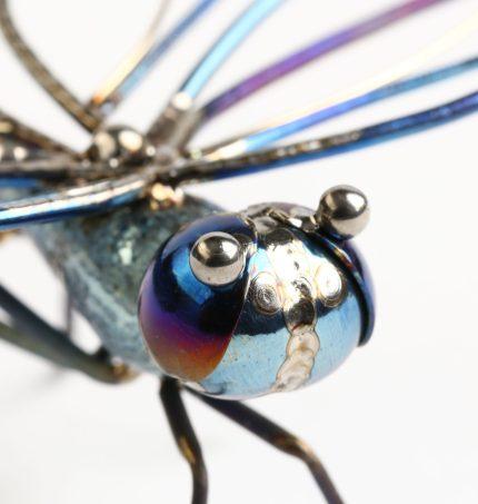 """Māris Šustiņš, brooch """"Dragonfly"""" - titanium, gold 18k, aquamarines."""