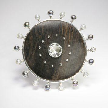 Guntis Lauders, pin & pendant, silver 925, rock crystal, pearls