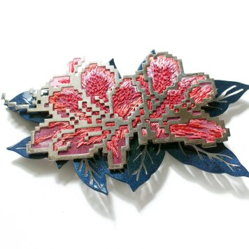 Heng Lee, brooch - Nickel silver plated with platinum , aluminum, auto paint, tread, silk organza