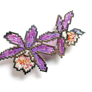 Heng Lee, brooch - Stainless Steel plated with platinum, thread, silk organza