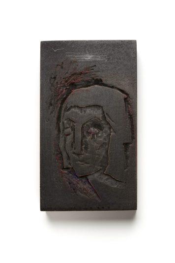 "Kadri Mälk, brooch ""The Sorrow Stays in the Eyes"" – carved and painted cibatool, silver, paint, fake diamond. Photo - Kadri Mälk"