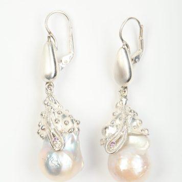 Māris Šustiņš, earrings - silver 925, pearl