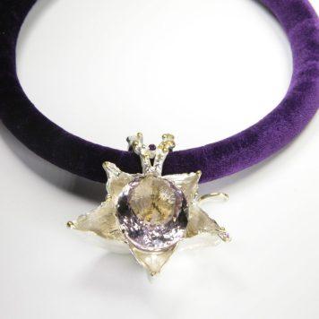 Māris Šustiņš, necklace - silver 925, amethyst, garnet, textile