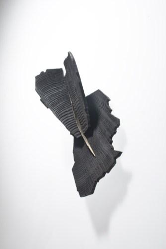 """Maria Valdma, brooch """"Territories"""" - Burnt wood, gold 14ct, silver 925. Photo - Jaan Heinmaa"""