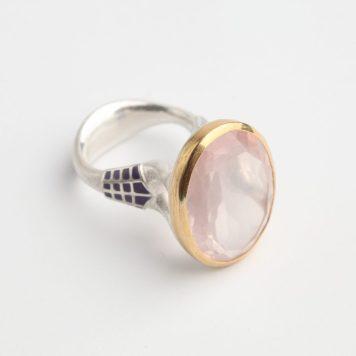 Valdis Brože, ring - silver 925, gold 750, quartz, enamel