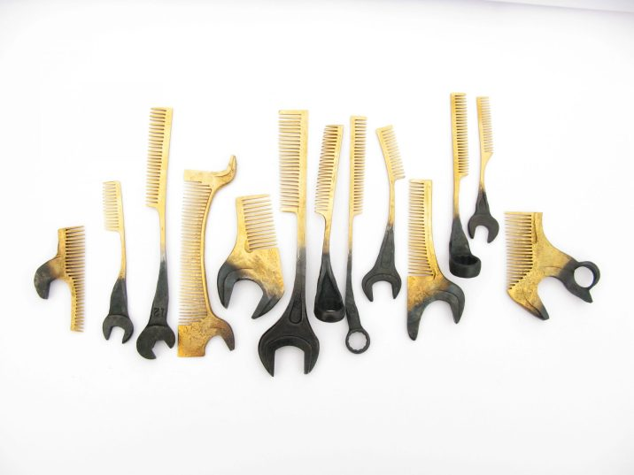 """Nils Hint, """"Combs"""" - forged steel, gilding. Photo - Nils Hint"""