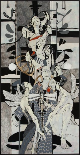 Roberts Koļcovs, Union, painting – canvas, acrylic paint, ink, graphite