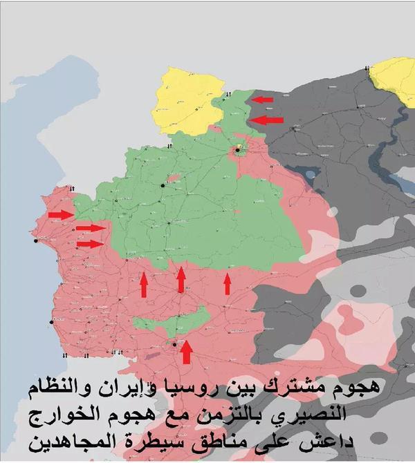 Mapa ofanzive režimskih snaga i IDIŠ-a