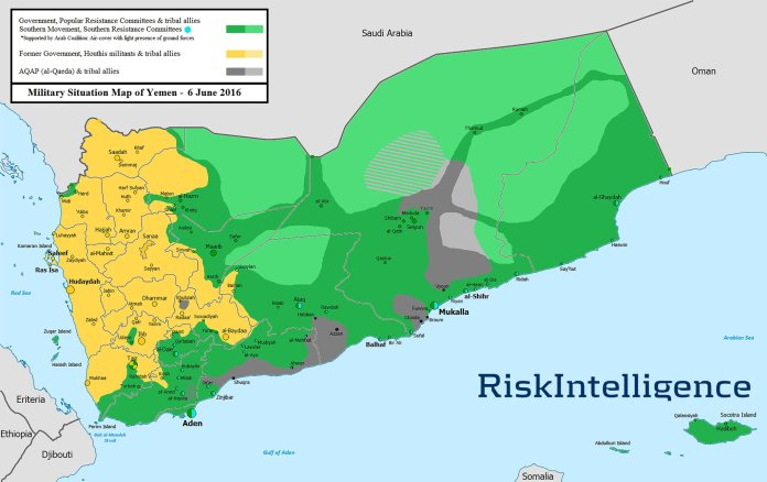 Military situation - map of Yemen (06.06.2016.)