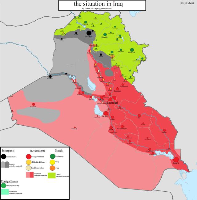 Mapa kontrole teritorija u Iraku za 3. oktobar 2016. godine