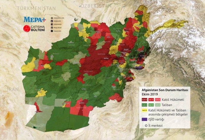 MAPA: Talibani (IEA): zeleno, Afganistanska vlada: crveno, Talibani i ostale grupe pomješano: žuto, IDIŠ: ljubičasto