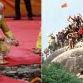"""Hindu terorista i premijer Indije Naredra Modi na ceremoniji polaganja """"kamen-temljeca"""" za izgradnja hindu hrama na temeljima Babri mesdžida"""